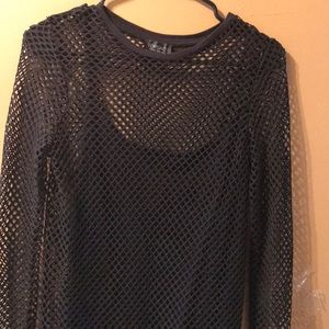 NWOT Dress. Topshop black mesh dress with slip